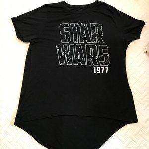 Classic Star Wars Black TShirt, 2X, Hi/lo hem